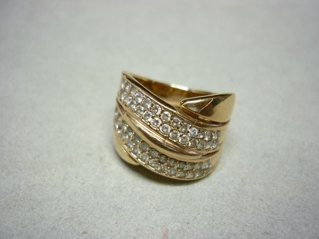 K18PGリングダイヤ付き